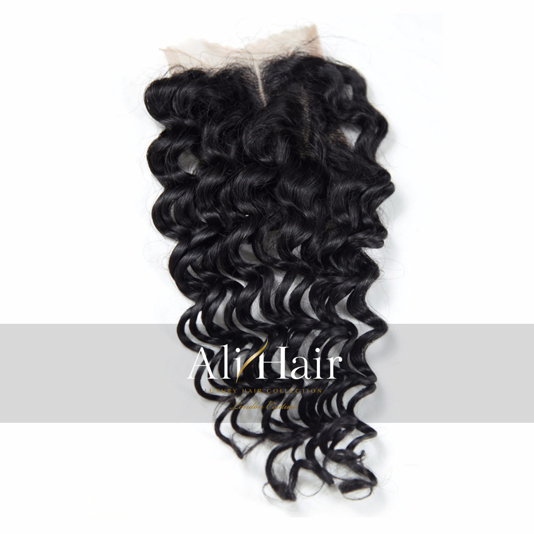 AliHair Brazilian Deep Wave Closure Human Gold Virgin Hair