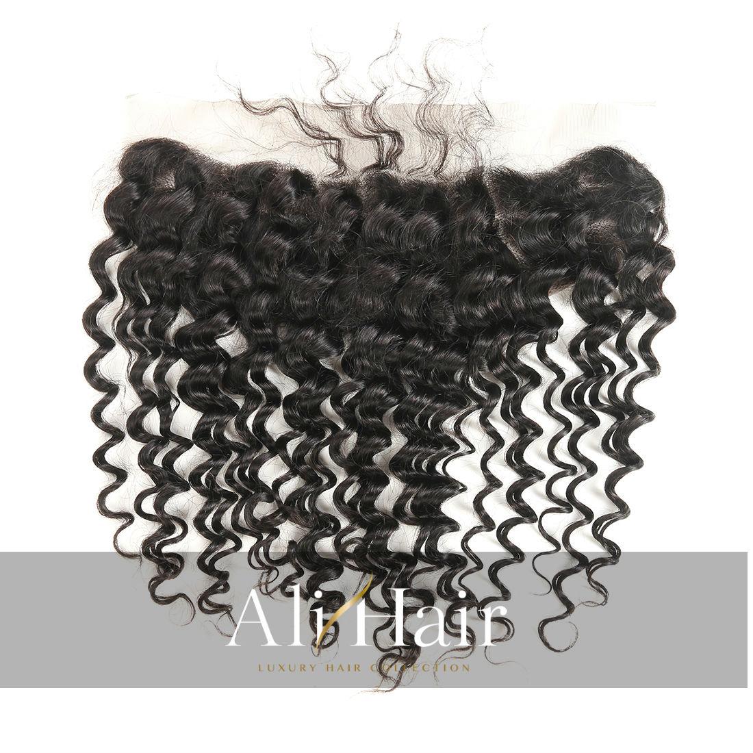 AliHair Brazilian Deep Wave Frontal Human Gold Virgin Hair