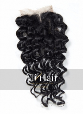 AliHair Brazilian 4x4 Deep Wave Closure Human Gold Virgin Hair