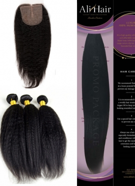 AliHair Brazilian Kinky Straight Gold Virgin Hair Closure Promo Package