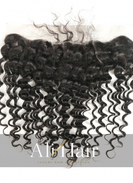 Alihair Deep Wave Virgin Human Hair Lace Frontal 13″x4″ Natural Color 10A