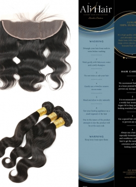 AliHair Brazilian Body Wave Gold Virgin Hair Frontal Promo Package